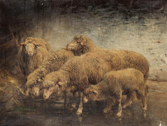 Above them their white breath was suspended, while far off in the pine woods, night was deep in silence. Heinrich_von_Zügel_Sheep_in_a_barn_1885