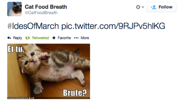 #IdesOfMarch pic.twitter.com/9RJPv5hlKG— Cat Food Breath (@CatFoodBreath) March 15, 2014